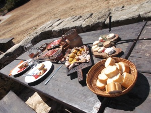 A picnic outside in Provence, with fresh cheese from the farm