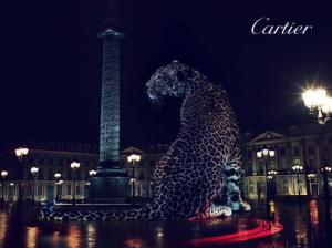 Cartier's signature jaguar stands proud in many of the exhibit's displays.